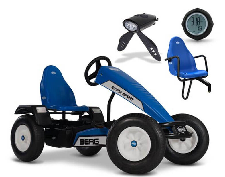Top Geschenk: BERG Gokart Extra Sport blau inkl. Soziussitz, Tacho + Beleuchtung - bei gokart-profi.de