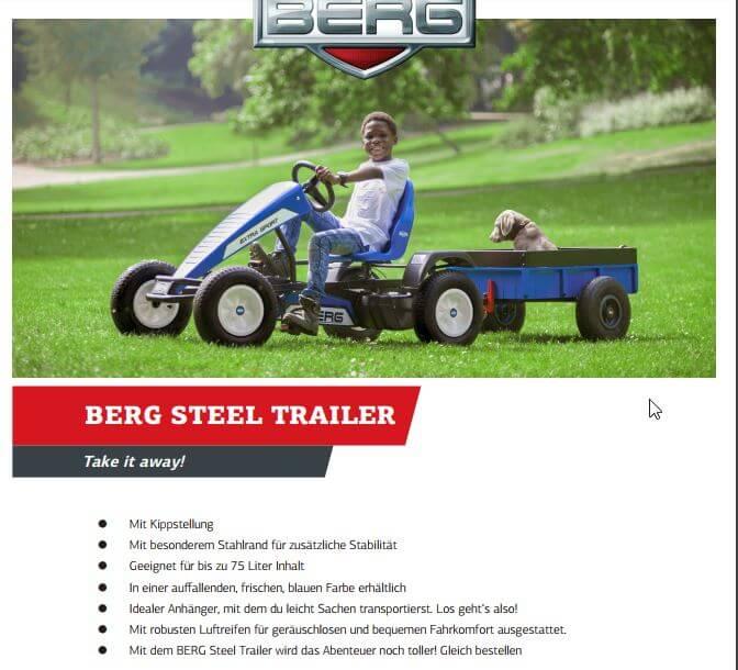 BERG Gokart Kippanhänger Steel Trailer - Neuheit 2017 bei gokart-profi.de