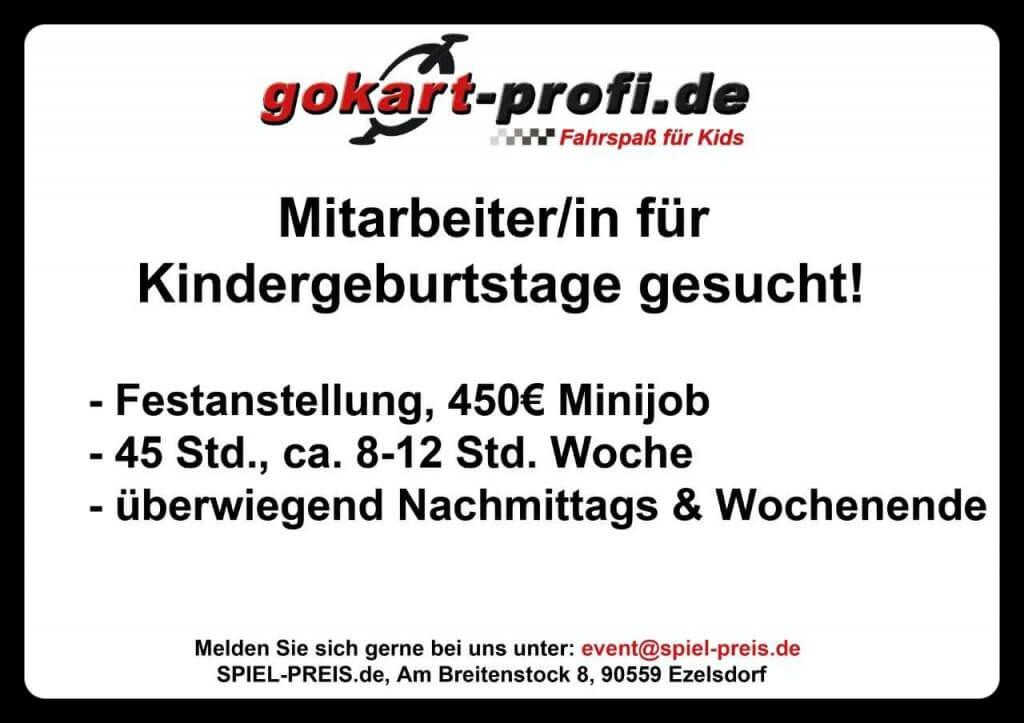 Mitarbeiter/in für KINDERGEBURTSTAGE gesucht gokart-profi.de