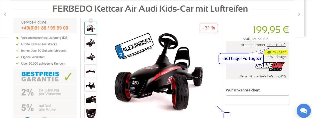Kettcar Spritgeld Aktion 2019 bei GOKART PROFI- Erklärung Artikel AUF LAGER