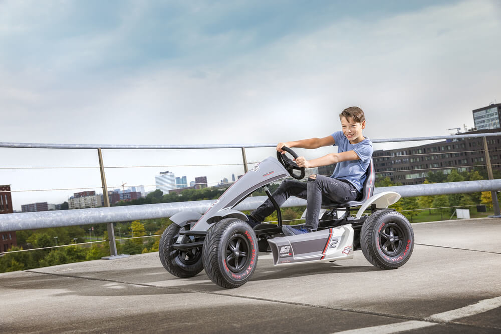 BERG Gokart Race GTS BFR-3 grau mit Seitenschürzen - viele Varianten auf gokart-profi.de - BERG-Pedal-Gokart Themenpakete Übersicht