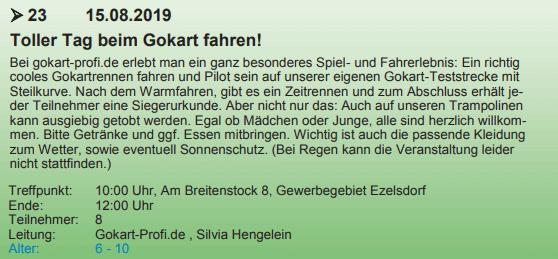 Ferienprogramme der Regionen starten wieder - gokart-profi.de 2019 - hier Beispiel Gemeinde Burgthann
