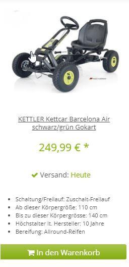 KETTLER Kettcar Barcelona Air schwarz/grün - jetzt kaufen bei www.gokart-profi.de