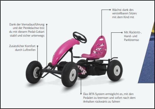 BERG Compact Pink - Schaubild technische Daten - gokart-profi.de