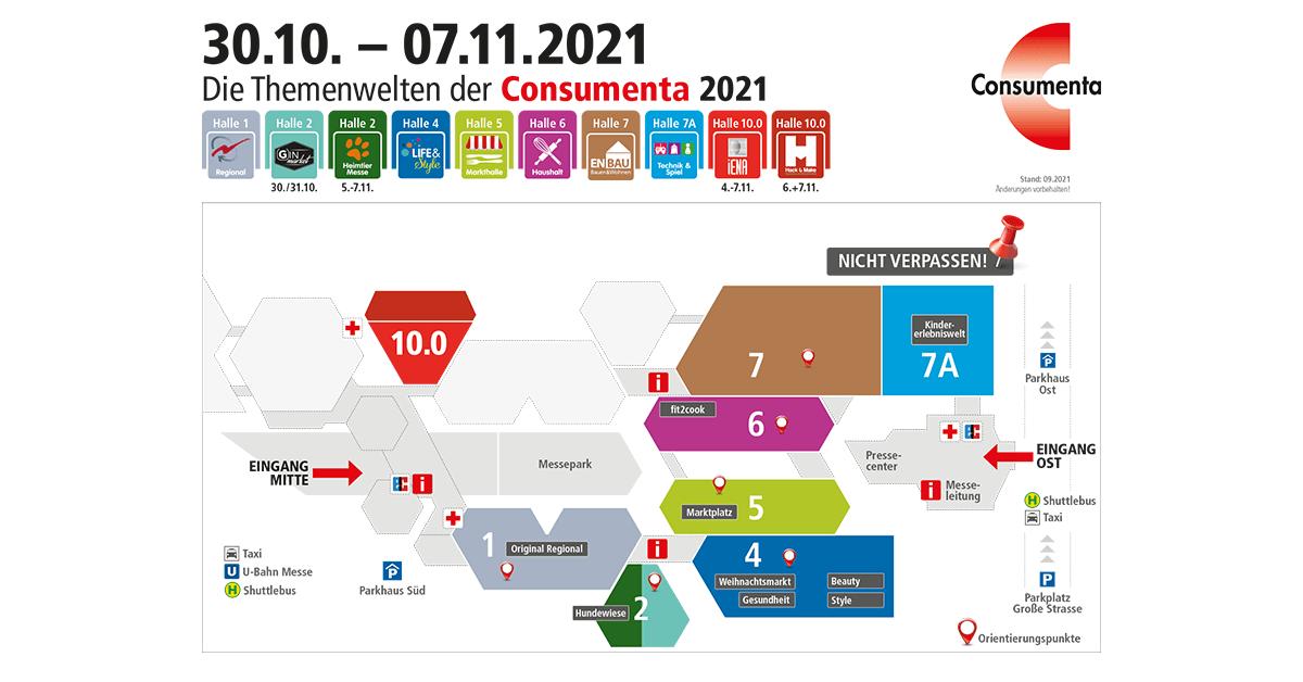Messeplan mit Themenwelten der Consumenta 2021 - Gokart-Profi finden Sie in Halle 7 A